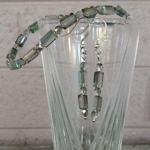 Iridescent Crystal Bracelet and Earring Set